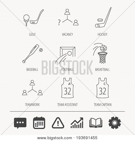 Football, ice hockey and baseball icons. Basketball, team assistant and captain linear signs. Teamwork, vacancy and golf icons. Education book, Graph chart and Chat signs. Vector