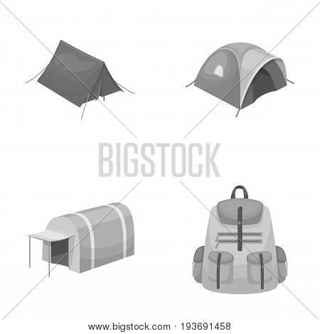 Backpack and other kinds of tents.Tent set collection icons in monochrome style vector symbol stock illustration .