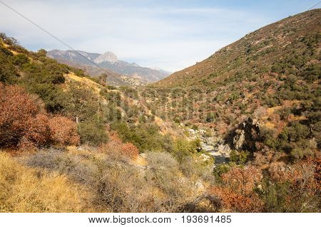 The valley view at the entrance to Sequoia National Park on Generals Hwy in California, USA