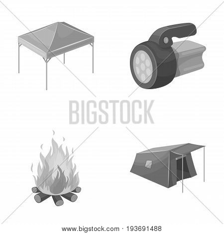 Awning, fire and other tourist equipment.Tent set collection icons in monochrome style vector symbol stock illustration .