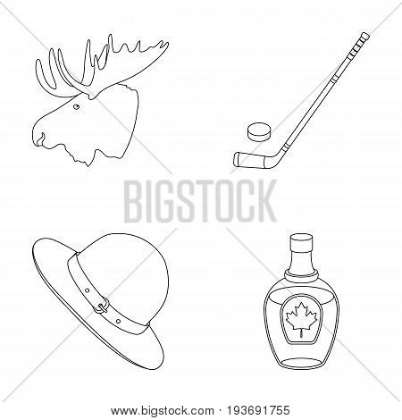 A canadian policeman's hat, a bottle of maple syrup and other Canadian symbols.Canada set collection icons in outline style vector symbol stock illustration .