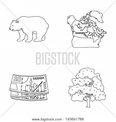 Canadian dollar, territory map and other symbols of the country.Canada set collection icons in outline style vector symbol stock illustration .