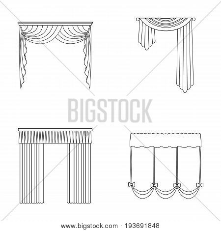 Different types of window curtains.Curtains set collection icons in outline style vector symbol stock illustration .