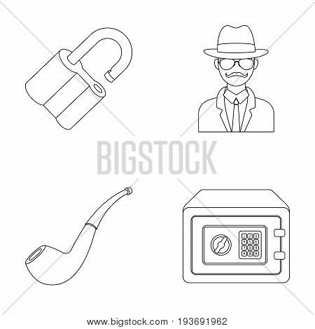 Lock hacked, safe, smoking pipe, private detective.Detective set collection icons in outline style vector symbol stock illustration .
