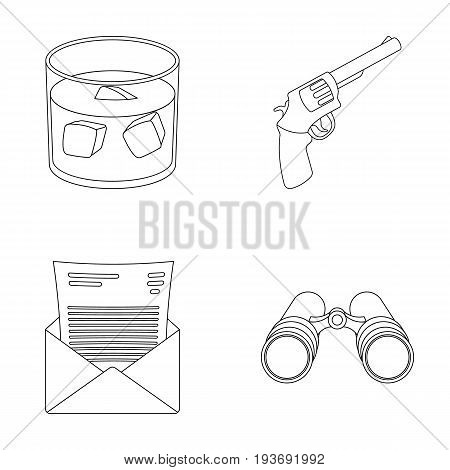 A glass of whiskey, a gun, binoculars, a letter in an envelope.Detective set collection icons in outline style vector symbol stock illustration .