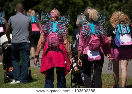 SOUTHAMPTON UK - July 2 2017: Race for Life women run and walk to raise money for Cancer Research charity in Southampton UK.