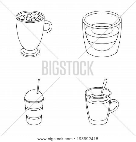 Ristretto, hot chocolate, latte take-away.Different types of coffee set collection icons in outline style vector symbol stock illustration .