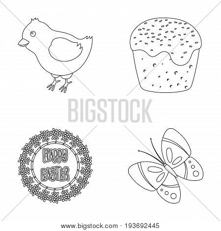 Easter cake, chicken, butterfly and greeting sign.Easter set collection icons in outline style vector symbol stock illustration .