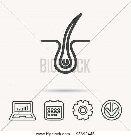 Trichology skin icon. Dermatology hair sign. Notebook, Calendar and Cogwheel signs. Download arrow web icon. Vector poster
