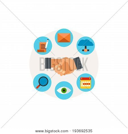 Vector icon of handshake with app icons. Customer relationships, partnership, management. CRM system concept. Can be used for topics like business, communication, technology