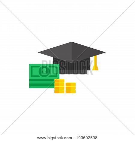 Icon of square academic cap and money. Studying, price, cash. Education cost concept. Can be used for topics like college, university, higher education