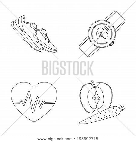 Heart rhythm, vitamins and other equipment for training.Gym and workout set collection icons in outline style vector symbol stock illustration .