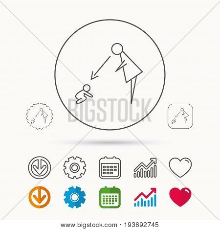 Under nanny supervision icon. Babysitting care sign. Mother watching baby symbol. Calendar, Graph chart and Cogwheel signs. Download and Heart love linear web icons. Vector