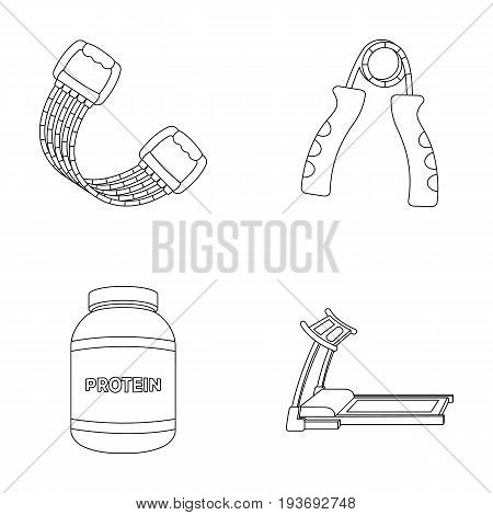 Protein, expander and other equipment for training.Gym and workout set collection icons in outline style vector symbol stock illustration .