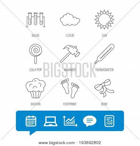 Footprint, lab bulbs and thermometer icons. Muffin, bow and lolly pop linear signs. Cloud and sun flat line icons. Report file, Graph chart and Chat speech bubble signs. Laptop and Calendar web icons