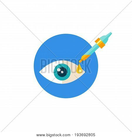 Icon of eye test. Dilating eye drop, medications, examination. Oculist concept. Can be used for topics like eye care, treatment or vision
