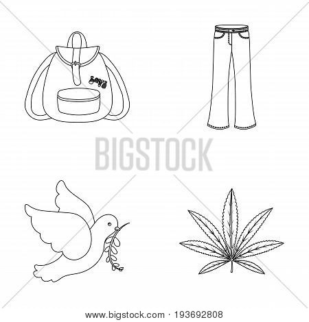 A cannabis leaf, a dove, jeans, a backpack.Hippy set collection icons in outline style vector symbol stock illustration.