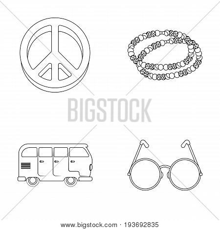 A hippie sign, beads, a bus, round glasses.Hippy set collection icons in outline style vector symbol stock illustration.