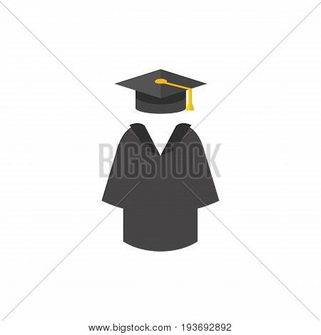 Icon of graduation mantle and hat. Ceremony, clothing, studying. Education concept. Can be used for topics like university, knowledge, diploma