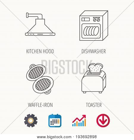 Dishwasher, waffle-iron and toaster icons. Kitchen hood linear sign. Calendar, Graph chart and Cogwheel signs. Download colored web icon. Vector