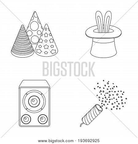 Tricks, music and other accessories at the party.Party and partits set collection icons in outline style vector symbol stock illustration .