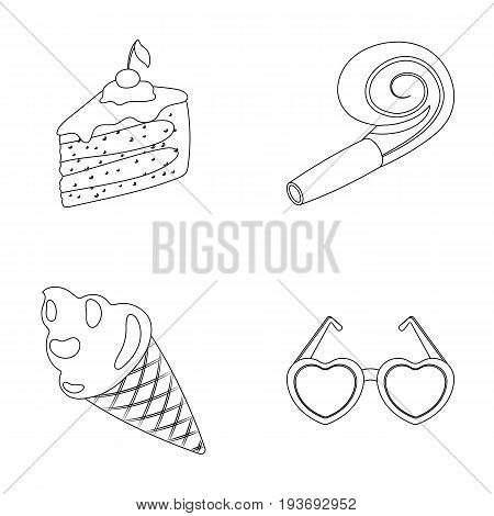 Refreshments and other accessories at the party.Party and partits set collection icons in outline style vector symbol stock illustration .