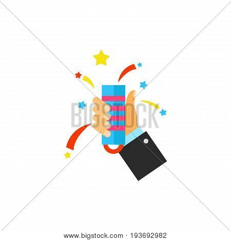 Vector icon of human hand holding flapper. Fun, party, New year. Firework concept. Can be used for topics like entertainment, pyrotechnics, holiday