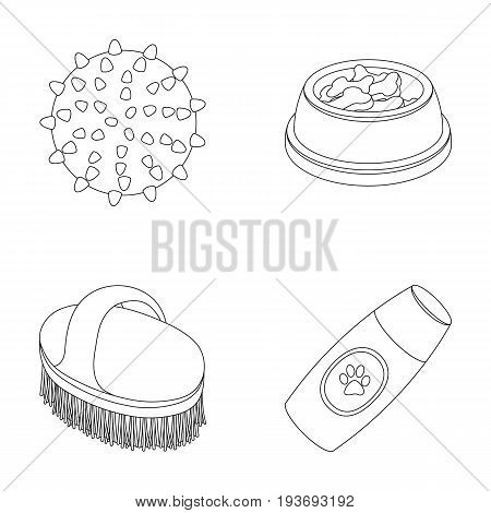 The ball, feed, shampoo and other zoo store products. Pet shop set collection icons in outline style vector symbol stock illustration web.