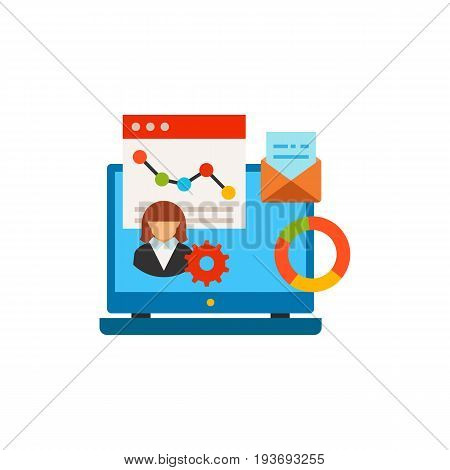 Vector icon of laptop with business programs on table. Application, software, internet. CRM system concept. Can be used for topics like business, technology, communication