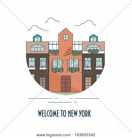 Old New York urban cityscape made in a line art style and text Welcome to New York. Hell Kitchen or Brooklyn.