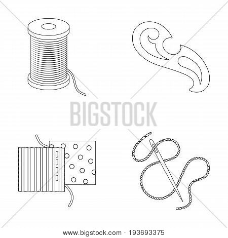 A spool with threads, a needle, a curl, a seam on the fabric.Sewing or tailoring tools set collection icons in outline style vector symbol stock illustration .