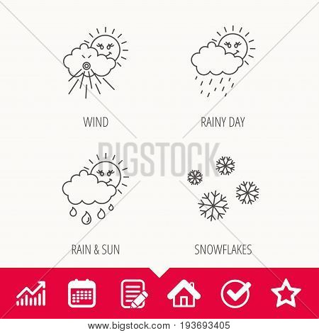 Snowflakes, sun and rain icons. Wind linear sign. Edit document, Calendar and Graph chart signs. Star, Check and House web icons. Vector