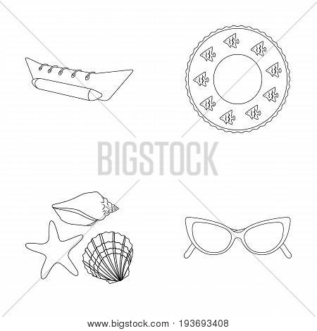 Water attraction, seashells, goggles.Summer vacation set collection icons in outline style vector symbol stock illustration .
