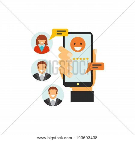 Vector icon of hand holding mobile phone and chatting via internet. Mobile services, online support, networking. CRM system concept. Can be used for topics like business, technology, communication