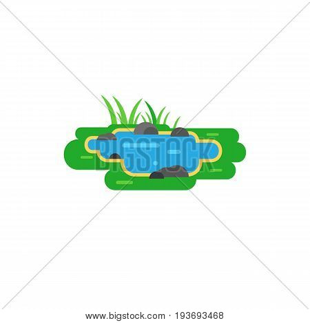 Vector icon of pond. Park, lake, puddle. City landscape concept. Can be used for topics like nature, environment, ecology