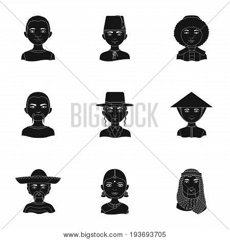 Chinese, russian, american, arab, indian, turk and other races. The human race set collection icons in black style vector symbol stock illustration .