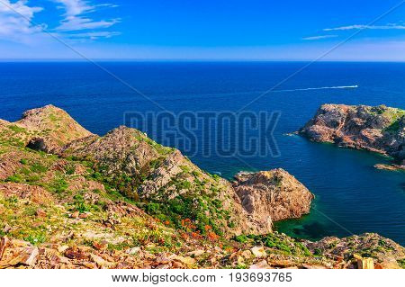 Sea Landscape With Cap De Creus, Natural Park. Eastern Point Of Spain, Girona Province, Catalonia. F