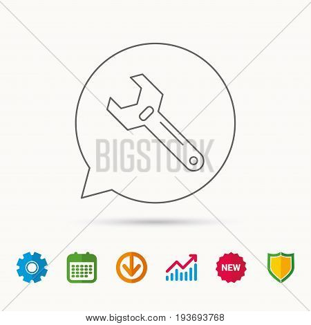 Wrench key icon. Adjustable repair tool sign. Calendar, Graph chart and Cogwheel signs. Download and Shield web icons. Vector