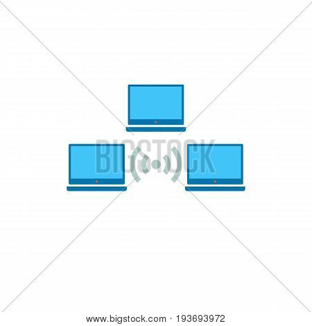 Icon of wifi distribution. Laptop, computer, wireless access point. Wireless technology concept. Can be used for topics like wifi network, server or business