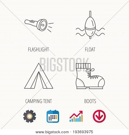 Flashlight, fishing float and hiking boots. Camping tent linear sign. Calendar, Graph chart and Cogwheel signs. Download colored web icon. Vector
