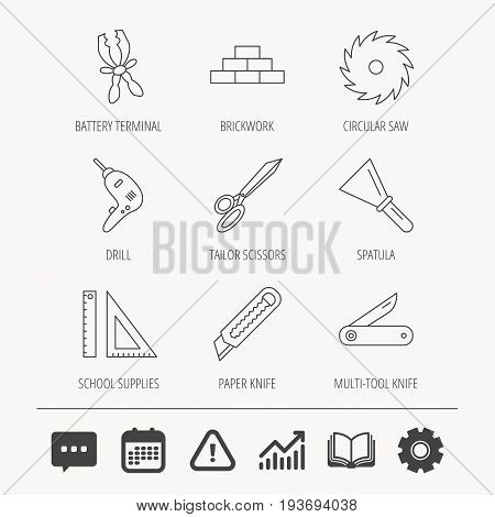 Paper knife, spatula and scissors icons. Circular saw, brickwork and drill tool linear signs. Multi-tool knife, rulers icons. Education book, Graph chart and Chat signs. Vector