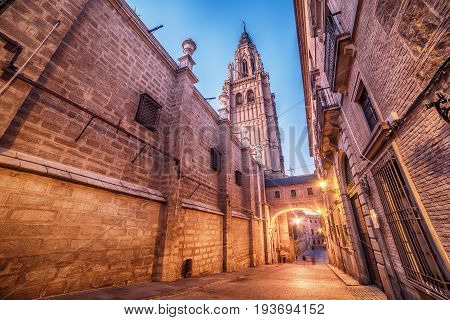 Toledo, Spain: the old town and the Cathedral in the early morning