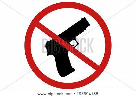 Prohibiting Sign For Gun. No Gun Sign. 3D Illustration