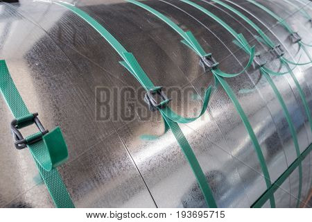 Galvanized steel coils strapped tied by plastic strips