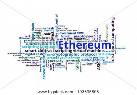 Ethereum crypto currency word cloud over white