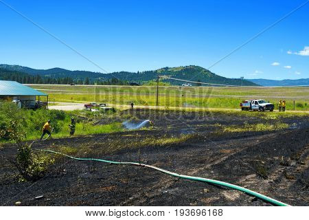 KALISPELL, MONTANA, USA - June 21, 2017: Firefighter rolling up hose in the front yard of a home threatened by a contained grass fire
