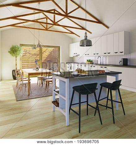 Attic floor apartment kitchen design. 3d illustration concept
