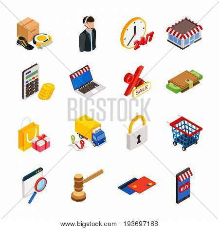 Electronic commerce isometric icon set with gadgets for buying on internet and shopping symbols vector isolated illustration
