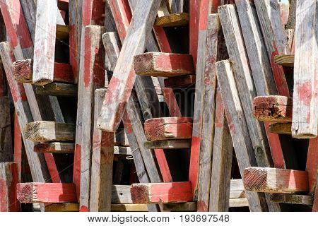 Stacked Wooden Flea Market Furniture - Abstract Wood Background