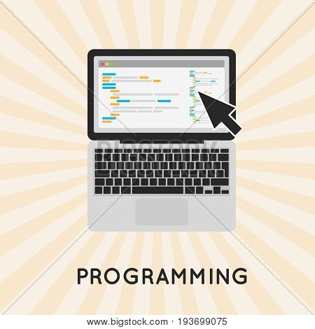Laptop programming vector concept illustration. Coding php or html on computer. Program code.